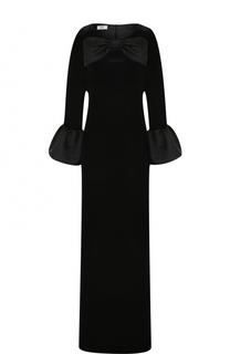 Бархатное платье-макси с укороченным рукавом и бантом Weill