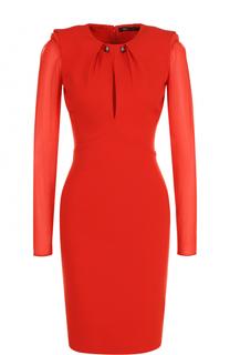 Шерстяное платье-футляр с прозрачными рукавами Roberto Cavalli