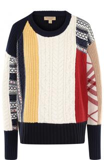 Пуловер из смеси шерсти и кашемира с круглым вырезом Burberry