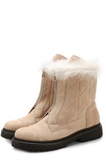 Замшевые ботинки с отделкой из овчины Moncler
