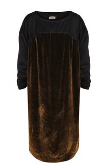 Платье-миди с круглым вырезом и бархатной вставкой Dries Van Noten