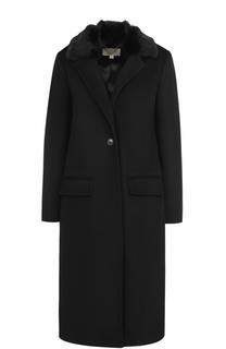 Шерстяное пальто прямого кроя с отделкой из меха кролика MICHAEL Michael Kors