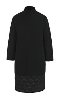 Однотонное платье-миди со стеганой вставкой Moncler