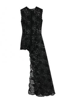 Приталенный кружевной топ асимметричного кроя Alexander McQueen