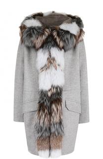 Пальто из смеси шерсти и кашемира с отделкой из меха кролика Yves Salomon
