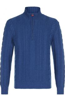 Кашемировый свитер фактурной вязки с воротником на молнии Kiton