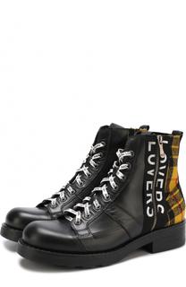 Высокие кожаные ботинки с текстильной отделкой O.X.S.