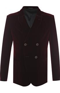 Двубортный пиджак из смеси вискозы и шелка Giorgio Armani