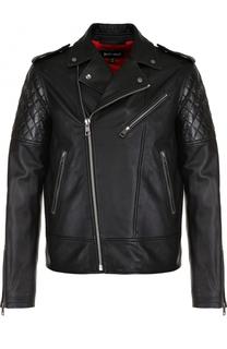 Кожаная куртка с косой молнией Just Cavalli