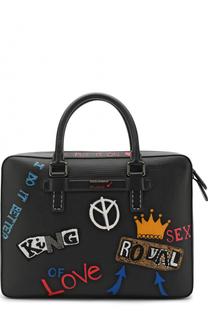 Кожаная сумка для ноутбука с отделкой Dolce & Gabbana