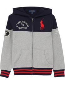 Спортивный кардиган из хлопка с капюшоном и нашивками Polo Ralph Lauren