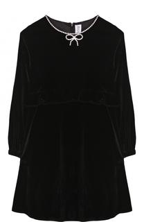 Бархатное платье с отделкой из страз и оборкой на поясе Simonetta