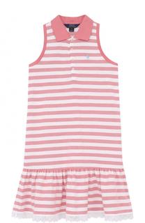 Хлопковое мини-платье без рукавов с кружевной отделкой Polo Ralph Lauren