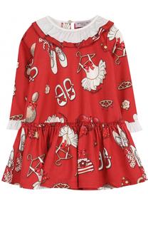 Мини-платье джерси с принтом и контрастной отделкой Monnalisa