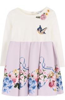 Мини-платье с завышенной талией Monnalisa