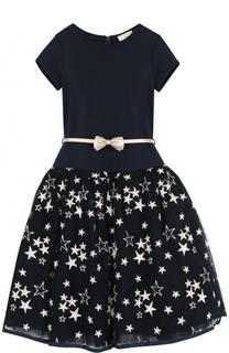 Приталенное платье с вышивкой в виде звезд и поясом Monnalisa