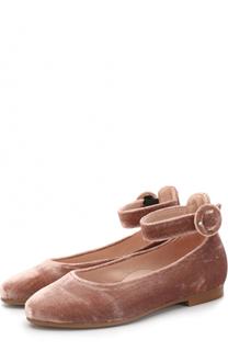 Бархатные туфли с ремешком на щиколотке Beberlis