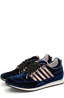 Бархатные кроссовки с металлизированной отделкой Dsquared2