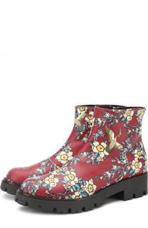 Кожаные ботинки с принтом Dsquared2