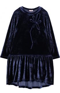 Бархатное платье с декором Il Gufo