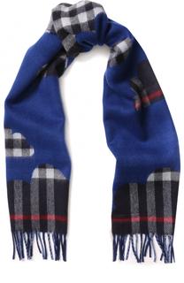 Кашемировый шарф с принтом и бахромой Burberry