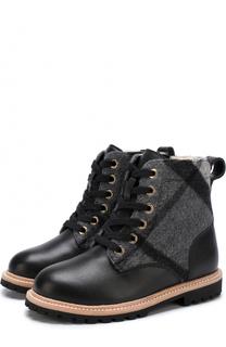 Кожаные ботинки с текстильной отделкой Burberry