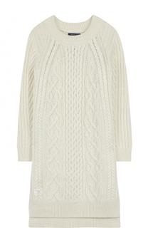 Платье фактурной вязки прямого кроя Polo Ralph Lauren