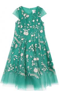 Платье свободного кроя с цветочной вышивкой David Charles
