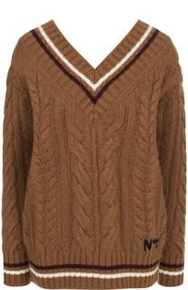 Пуловер фактурной вязки с V-образным вырезом No. 21