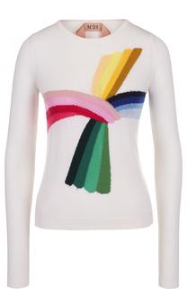 Приталенный вязаный пуловер с принтом No. 21