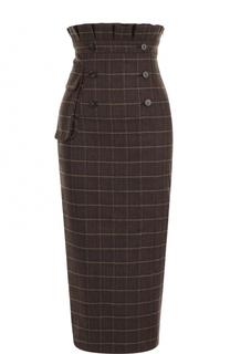 Шерстяная юбка-карандаш с завышенной талией Stella Jean