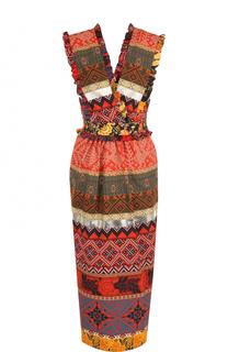 Приталенное хлопковое платье-миди Stella Jean