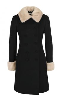Приталенное шерстяное пальто с отделкой из меха норки Blumarine