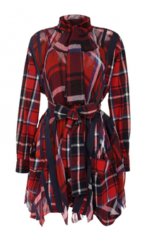 Платье-рубашка в клетку с поясом и воротником аскот Sacai