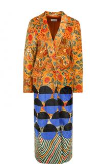 Бархатное пальто свободного кроя с принтом Dries Van Noten