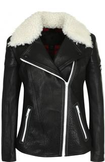 Кожаная куртка с косой молнией и отделкой из овчины Belstaff