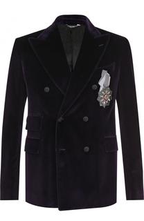 Двубортный пиджак из смеси хлопка и шелка Dolce & Gabbana