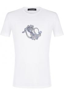 Хлопковая футболка с принтом Roberto Cavalli