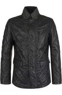Кожаная куртка на пуговицах с подстежкой Windsor