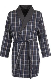 Хлопковый халат с поясом и шалевым воротником BOSS