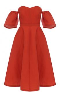 Приталенное платье-миди с открытыми плечами Vika Gazinskaya