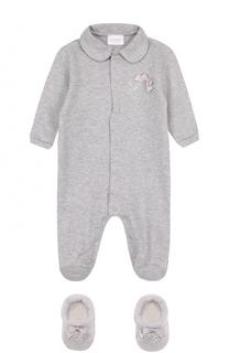 Хлопковый комплект из пижамы и пинеток La Perla