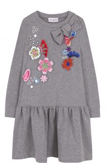 Хлопковое мини-платье с вышивкой и бантом Simonetta