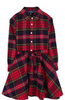 Хлопковое платье с принтом и широким поясом Polo Ralph Lauren