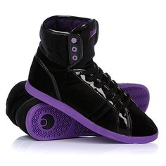 Кеды кроссовки высокие женские Osiris Soha Black/Purple/Velvet