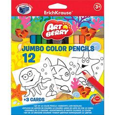 Цветные карандаши с точилкой + 3 раскраски, 12 цветов, Artberry Jumbo Erich Krause