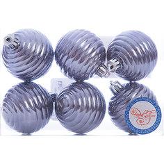 Новогоднее подвесное украшение Шар Улей серый из полистирола. Набор из 6 шт., 76044 Magic Time
