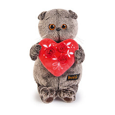 Мягкая игрушка Budi Basa Кот Басик с красным сердечком, 25 см