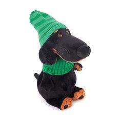 Мягкая игрушка Budi Basa Собака Ваксон в зеленой шапке и шарфе, 25 см