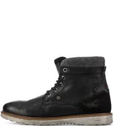 Кожаные ботинки с текситильными вставками S.Oliver